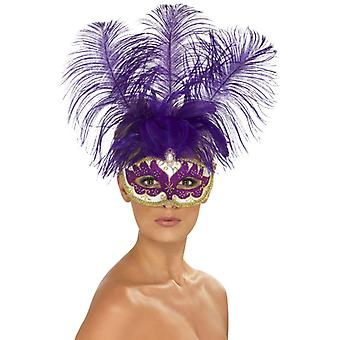 Purple Cancan beauty eye mask with feather