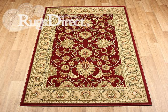 Kendra 45 M Red background with a traditional green floral pattern and a beige border Rectangle Rugs Traditional Rugs