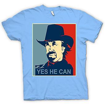 تي شيرت رجالي-تشاك نوريس أوباما-نعم أنه يمكن