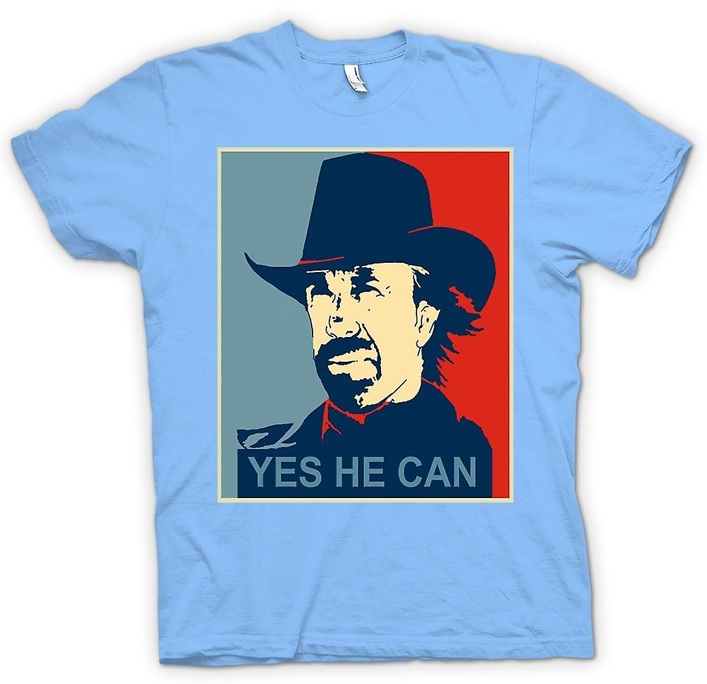 Mens T-shirt - Chuck Norris Obama - Yes He Can