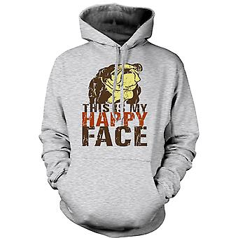 Womens Hoodie - Bulldog - This Is My Happy Face
