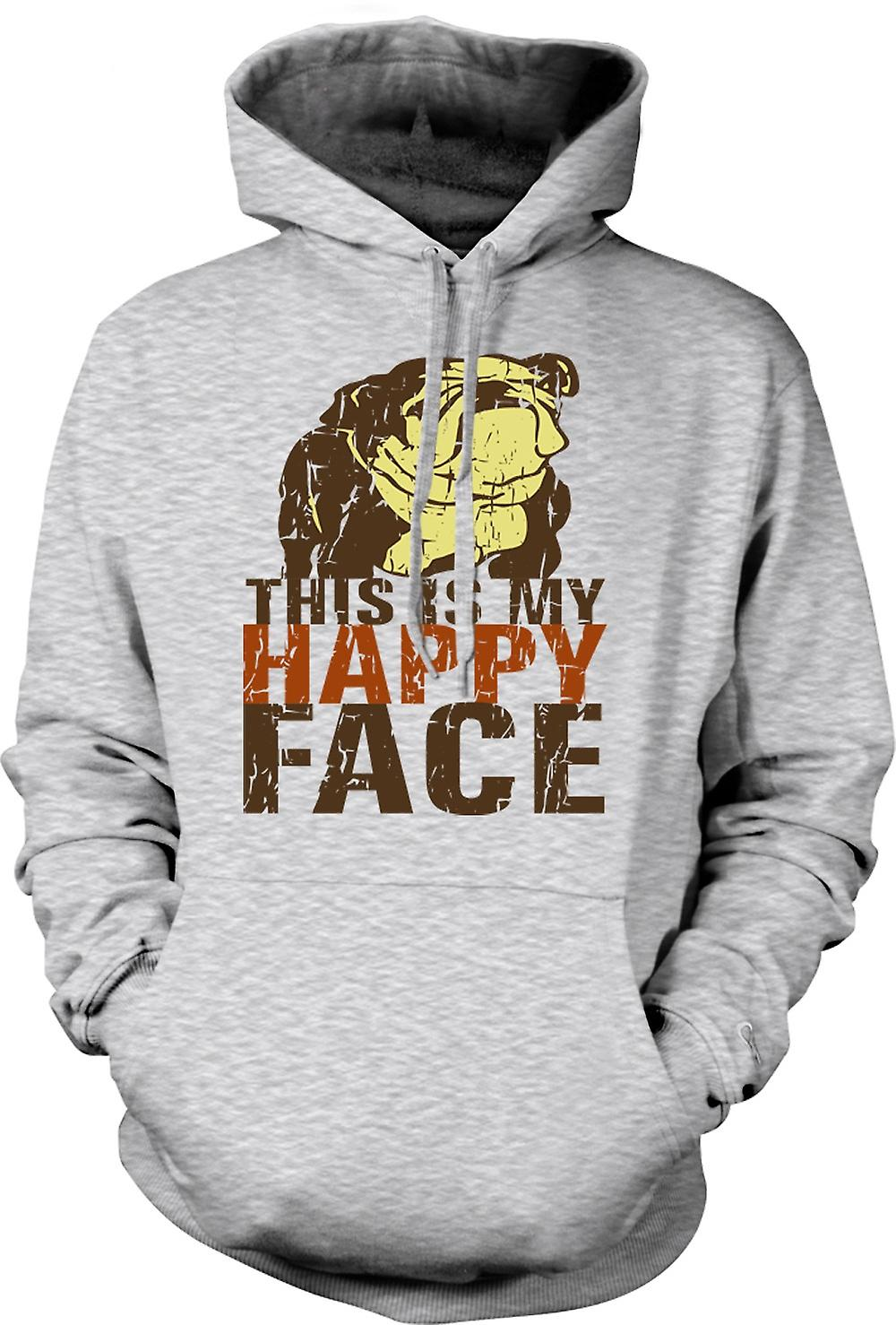 Mens Hoodie - Bulldog - This Is My Happy Face