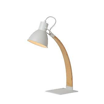 Lucide Curf skandinavischen Holz weiß und Holz Schreibtischlampe