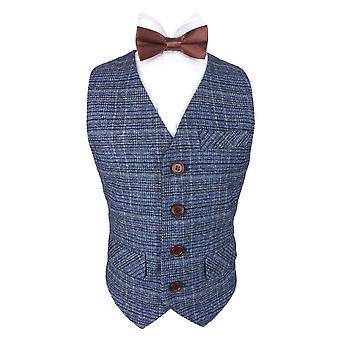 Romano drenge blå Tweed vest