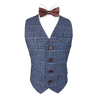 Romano Boys Blue Tweed Waistcoat