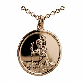 9ct Rose Gold 25mm round St Christopher Pendant with belcher Chain 16 inches Only Suitable for Children