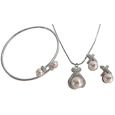 Glittering Swarovski Rose Pearl Inexpensive Pendant Necklace Earring Cuff Bracelet