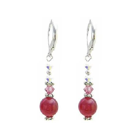 Rose Crystals & AB Crystals Earrings w/ Multifaceted 10mm Rose Stone