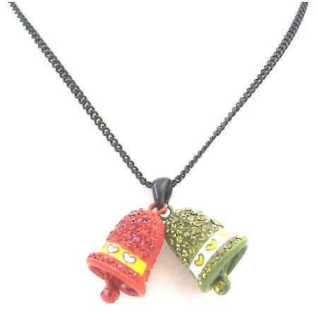 Jingle Bell Pendant Red Green Crystal With Bell Dangling Christmas Jewelry