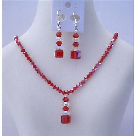 Passionate Swarovski AB Siam Red w/ Drop AB Crystals Red Necklace Set