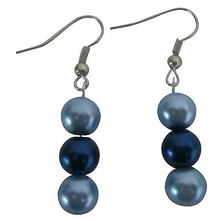 Two Simulated Pearls Color Earrings Light & Dark Blue Pearls Earrings