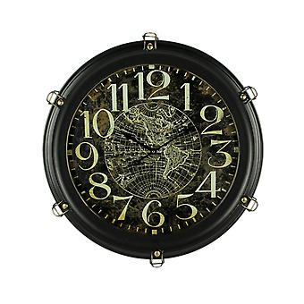 Black Metal World Map Porthole Frame Large Wall Clock