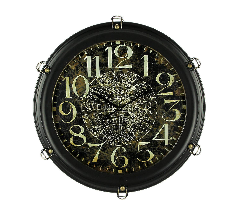 Noir Metal World Map Porthole Frame grand Wall Clock