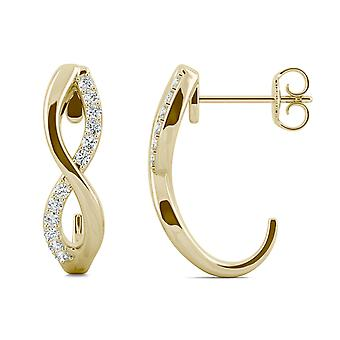 14K Yellow Gold Moissanite by Charles & Colvard 1.1mm Round Drop Earrings, 0.16cttw DEW