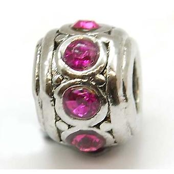 TOC BEADZ Pink Crystal 7mm Slide-On and Slide-Off Bead