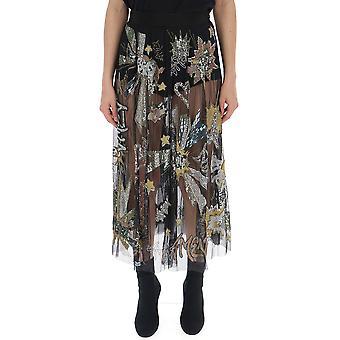 Amen Black Polyester Skirt