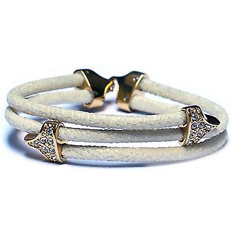 Stingray Lavriche cuir blanc Bracelet 18k or plaqué et CZ haute qualité