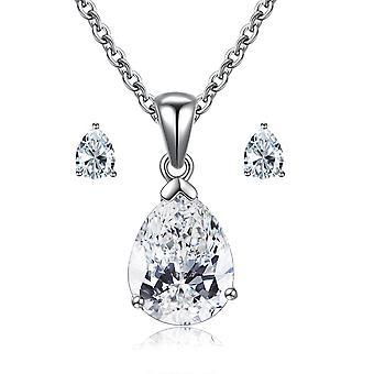 "925 Sterling Silver ""dazzling Heart"" Shape Pendant And Earrings Set"