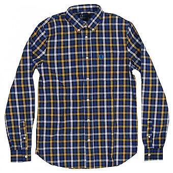 Fred Perry Fischgräten große überprüfen Herren Langarm Shirt M6240-886