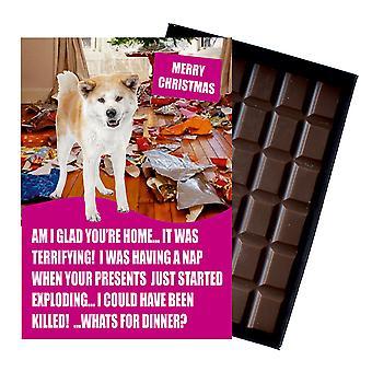 Akita Inu Funny Christmas GiftFor Dog Lover Boxed Chocolate Greeting Card Xmas Present