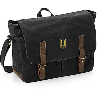 SAS Special Air Service - Licensed British Army Embroidered Waxed Canvas Messenger Bag