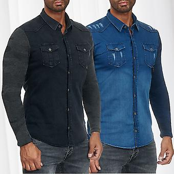 Men's Shirt Jeans Look Long Sleeve Shirt Transition Jacket Patterned Casual