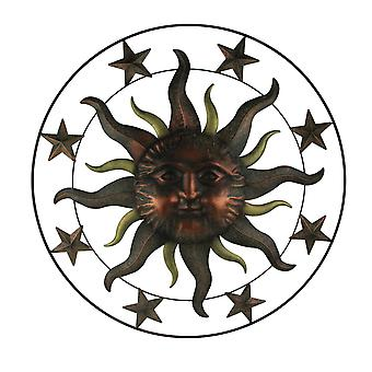 Metal Art Celestial Sun and Stars in Frame Indoor Outdoor Wall Hanging 36 Inch