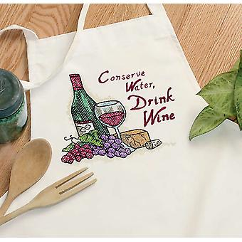 Drink Wine Apron Stamped Cross Stitch 73517D