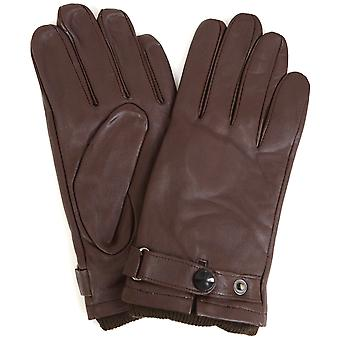 Leather Biker Stud Gloves - Brown