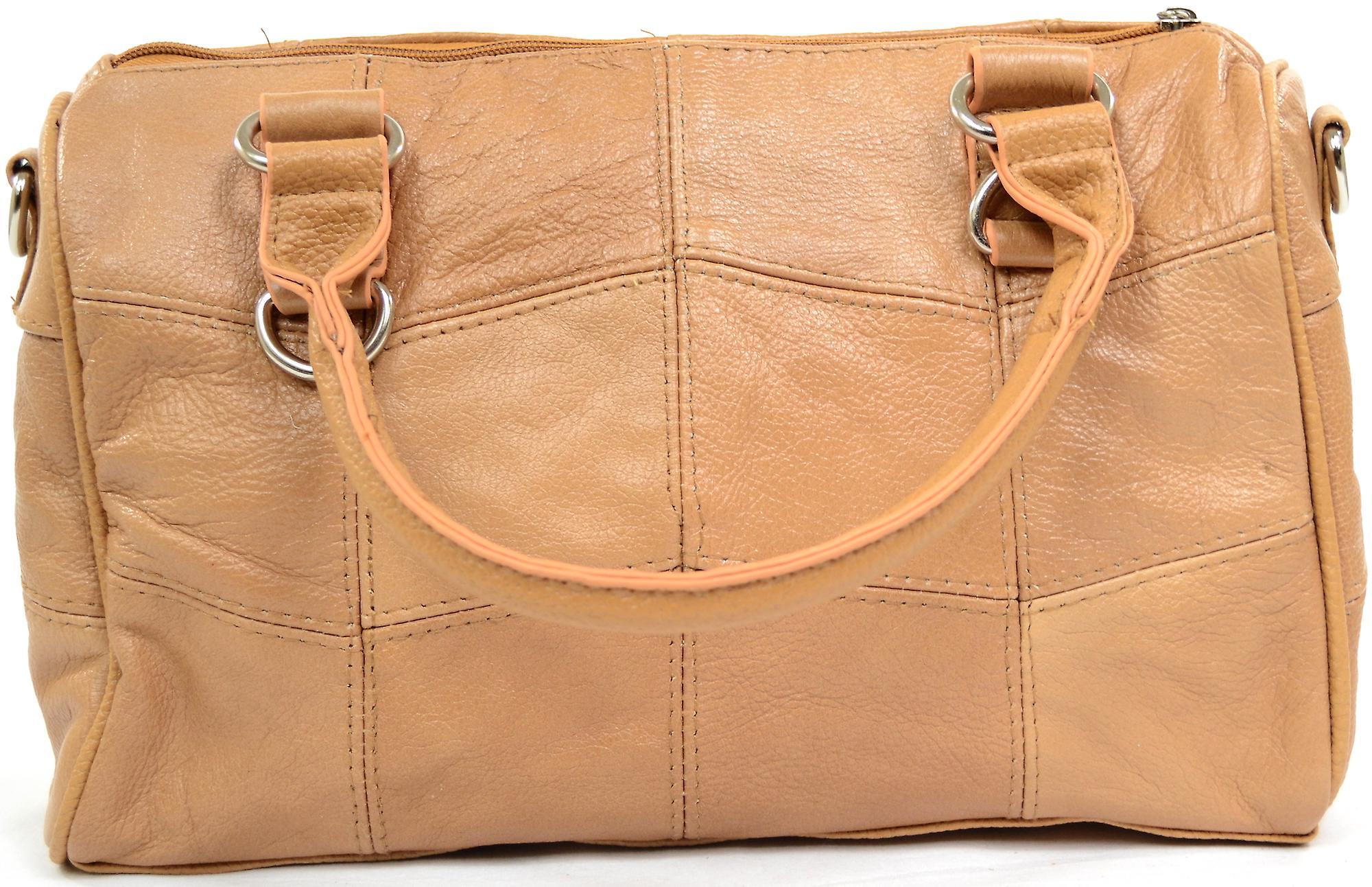 Ladies Soft Leather Handbag / Shoulder Bag - Tan