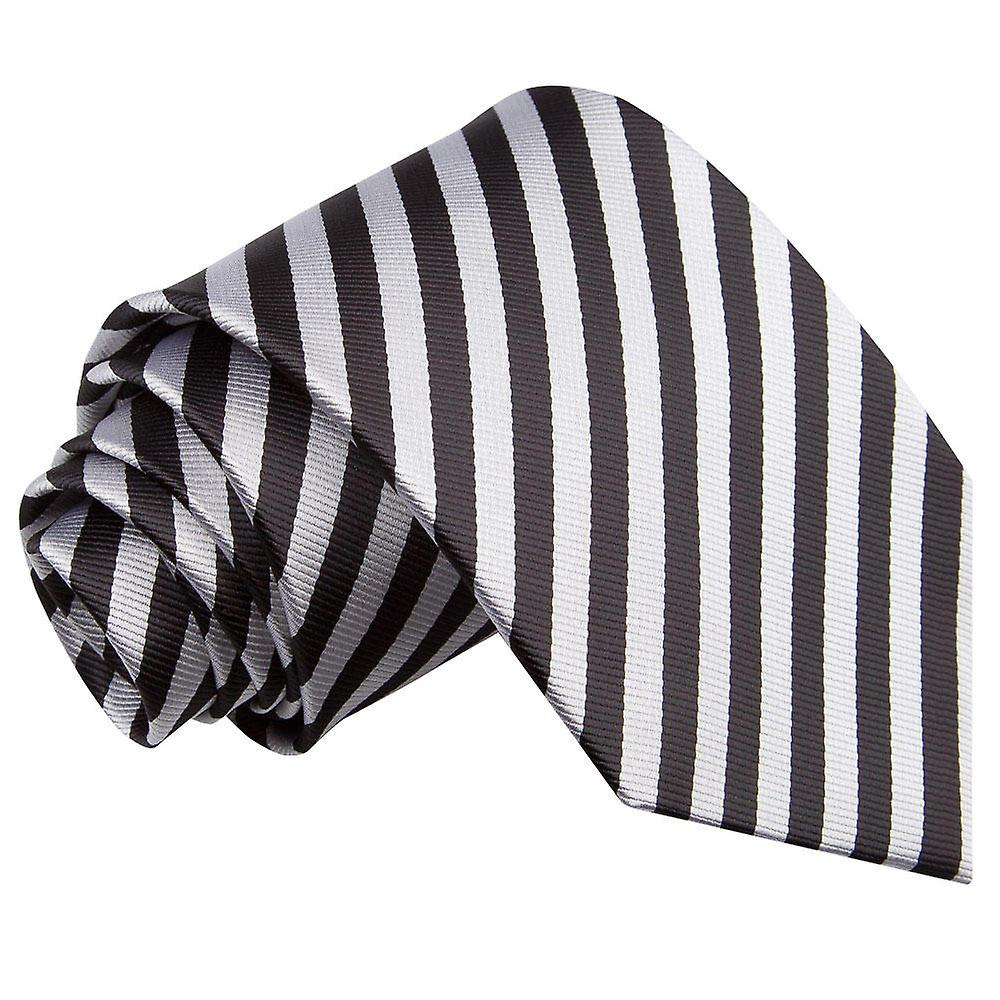 Thin Stripe Black & Silver Tie
