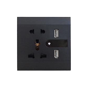 I LumoS Black Multi Plug Socket & USB Phone Charger Single Wall Socket & LED Light