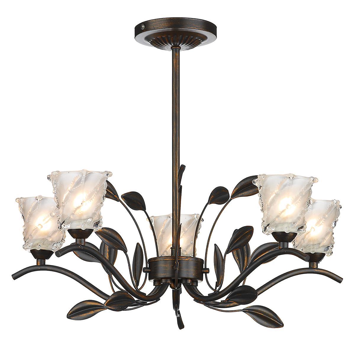 Dar PRU0563 Prunella Traditional 5 Light Semi-Flush Ceiling Light In Bronze