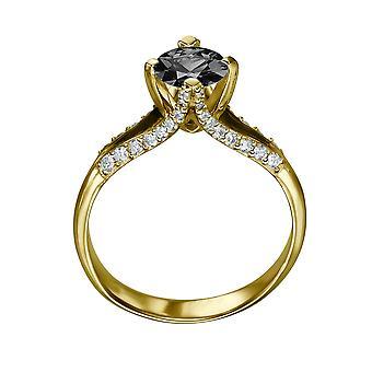 1.50 CTW 14k Yellow Gold Black Diamond anello con diamanti spaccato tibia unico Vintage