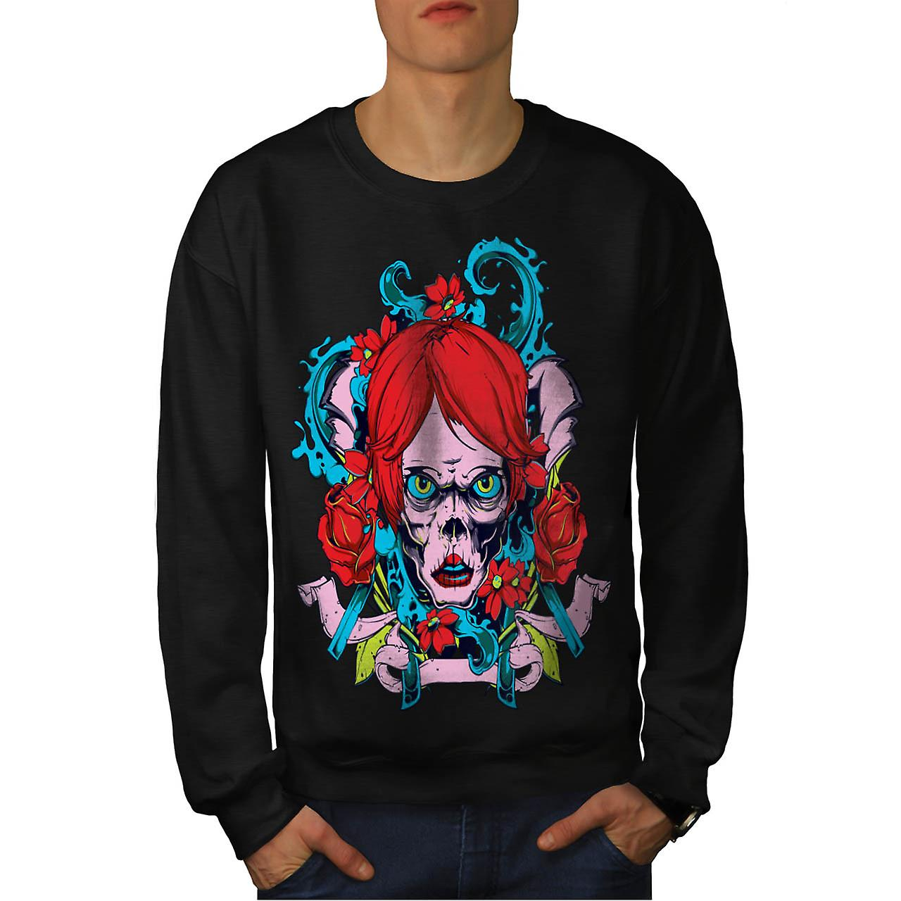 Horror Girl Octopus Zombie Lady Men Black Sweatshirt | Wellcoda