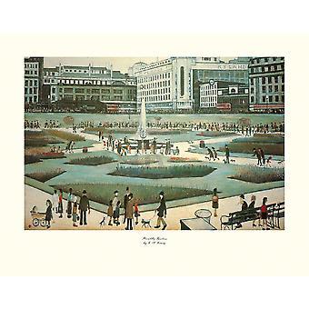 Piccadilly Gardens Poster trykk av LS Lowry (14 x 11)