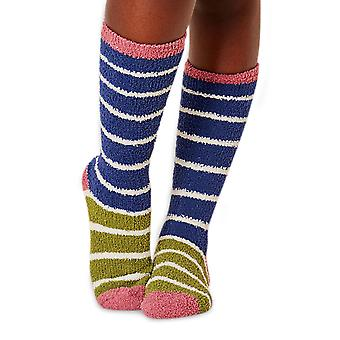 Willoemi women's fluffy socks in blue. Recycled polyester, made by Braintree