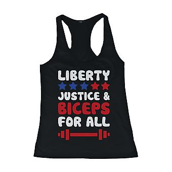 Women's Black Tank Top - LIBERTY JUSTICE AND BICEPS FOR ALL