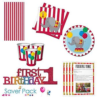 Circus Time 1st Birthday Party Tableware Saver Pack