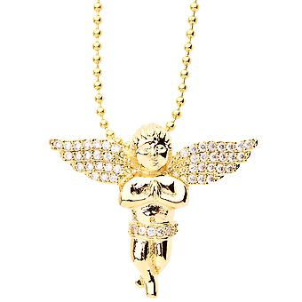 Iced out bling micro pave pendant - MINI FLY Angel gold
