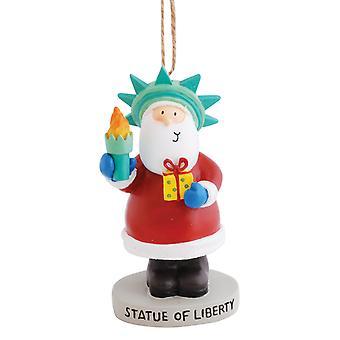 Ferie Santa forklædt som statutten for Liberty New York NY harpiks julepynt