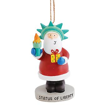Holiday Santa Posing As Statute of Liberty New York NY Resin Christmas Ornament