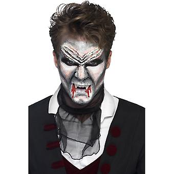 Liquid latex make-up set vampire Dracula 4 colors with palette knife red black white grey