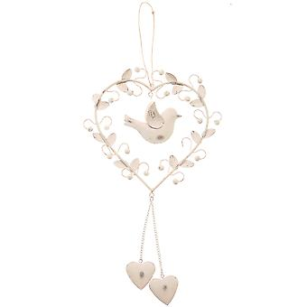 Large Metal Hanging Heart Decoration With Doves / Love Bird - White / Cream