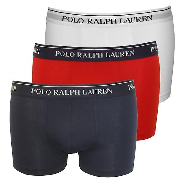 Polo Ralph Lauren 3-Pack Pouch Boxer Trunks, White/Red/Blue