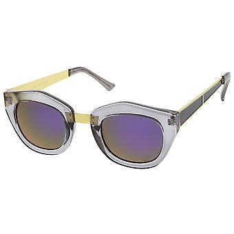 Women's Metal Bridge Colored Mirror Lens Square Cat Eye Sunglasses 46mm (Smoke-Gold / Purple Mirror)