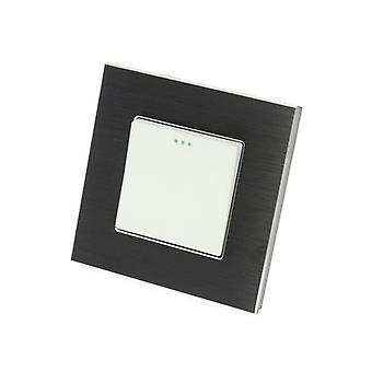 I LumoS Luxury Black Brushed Aluminium Frame 1 Gang 2 Way Rocker Wall Light Switches