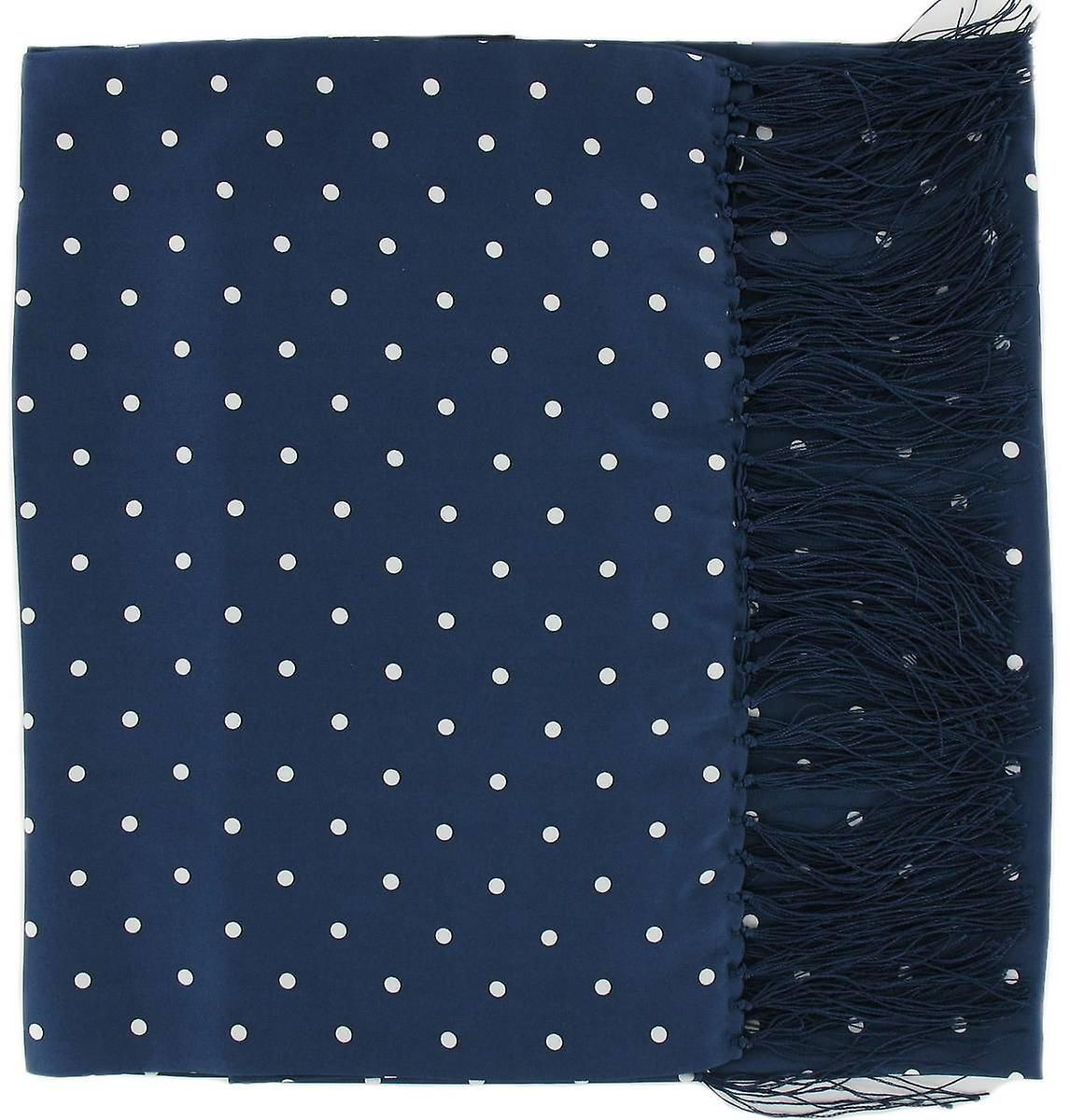 Michelsons of London Wide Polka Dot Silk Scarf - Navy Blue