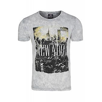 RUSTY NEAL NYC shirt mens T-Shirt grey with skyline