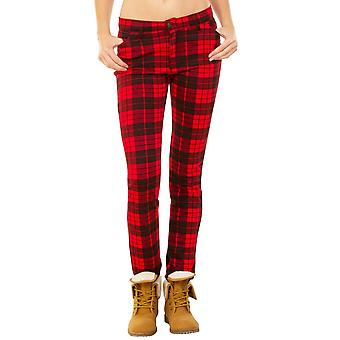Tartan Checked Punk Rockability Skinny Trousers - Red & Black